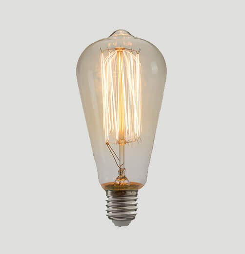 נורת פחם אגס60W-אור חם-60W 230V E27